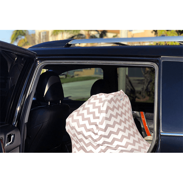Motmot Soft and Stretchy Nursing and Breastfeeding Privacy Cover Protects your Baby - grey chevron pattern as car seat cover