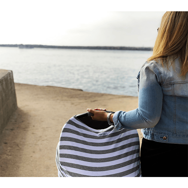 White Baby Car Seat Canopy And Nursing Cover