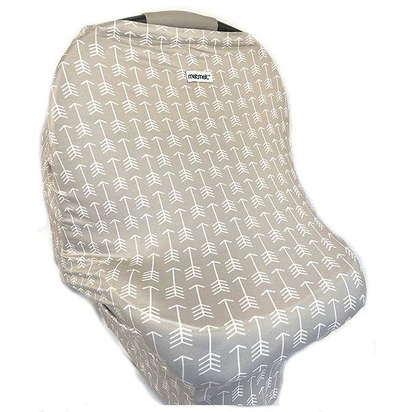 Motmot Soft and Stretchy Nursing and Breastfeeding Privacy Cover Protects your Baby - grey arrow car seat canopy