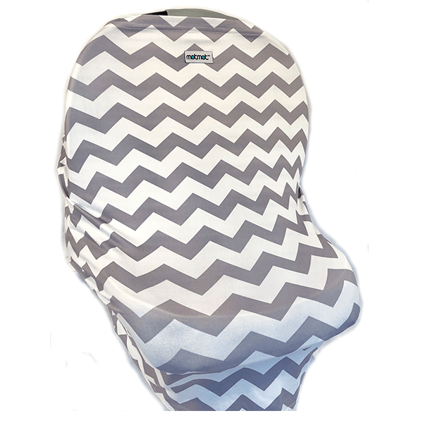 Motmot Soft and Stretchy Nursing and Breastfeeding Privacy Cover Protects your Baby - grey chevron car seat canopy