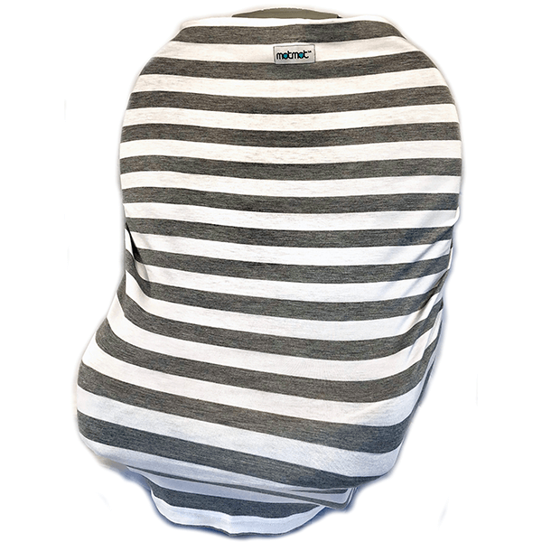 Motmot Soft and Stretchy Nursing and Breastfeeding Privacy Cover Protects your Baby - grey stripe car seat canopy cover