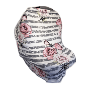 Motmot Soft and Stretchy Nursing and Breastfeeding Privacy Cover Protects your Baby - grey stripe rose pattern car seat canopy cover