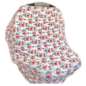 Motmot Soft and Stretchy Nursing and Breastfeeding Privacy Cover Protects your Baby - pink rose floral car seat canopy cover
